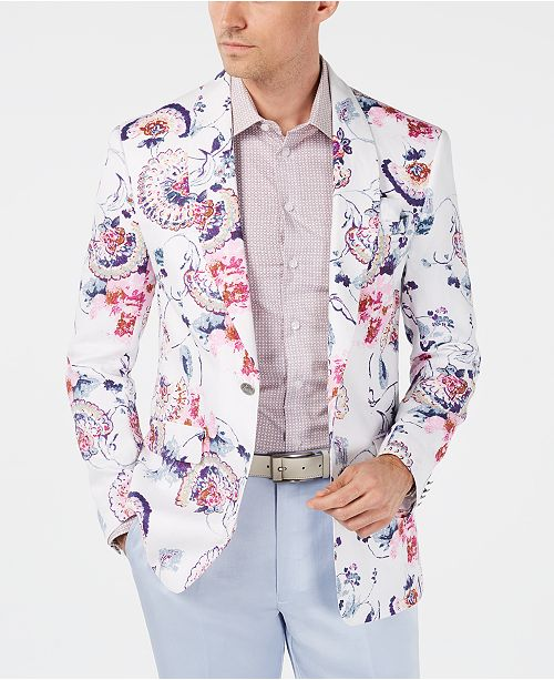Tallia Orange Men's Slim-Fit White Floral Linen Sport Coat