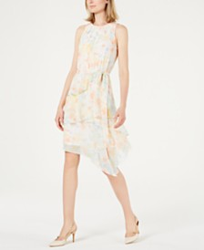Calvin Klein Floral Printed Tiered Chiffon Dress