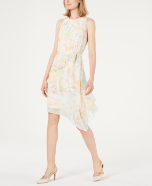 Calvin Klein Dresses FLORAL PRINTED TIERED CHIFFON DRESS