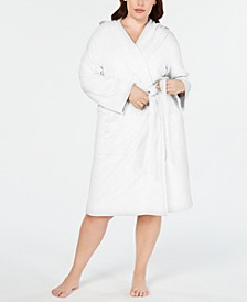 Plus Size Knit Terry Cloth Hooded Robe, Created for Macy's