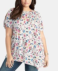 RACHEL Rachel Roy Trendy Plus Size Floral-Print Asymmetrical Top