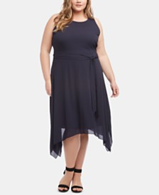 Karen Kane Plus Size Handkerchief-Hem Dress