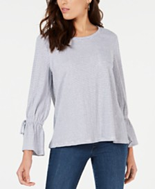 Style & Co Striped Tie-Sleeve Top, Created for Macy's