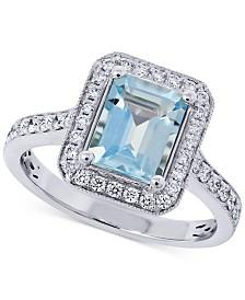 Aquamarine (2-1/10 ct. t.w.) & Diamond (3/8 ct. t.w.) Statement Ring in 14k White Gold
