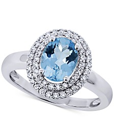 Aquamarine (1-1/8 ct. t.w.) & Diamond (1/4 ct. t.w.) Statement Ring in 14k White Gold