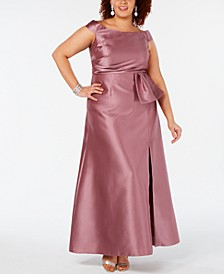 Plus Size Off-The-Shoulder Mikado Gown