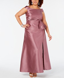 Adrianna Papell Plus Size Off-The-Shoulder Mikado Gown