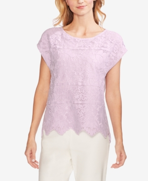 Vince Camuto Tops LACE STRIPE BLOUSE