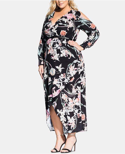 City Chic Plus Size Midnight-Print Maxi Dress