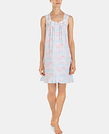 Eileen West Printed Embroidery-Detail Jersey Knit Chemise Nightgown