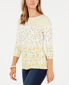 Charter Club Floral-Print Boat-Neck Top, Created for Macy's