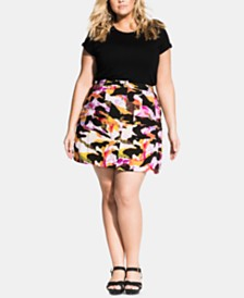 City Chic Plus Size Girly Camo Skirt