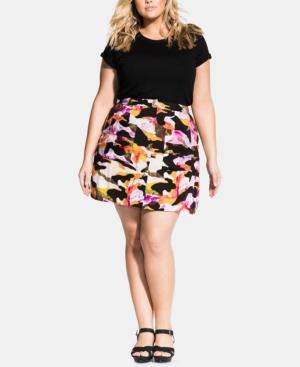 City Chic Skirts PLUS SIZE GIRLY CAMO SKIRT
