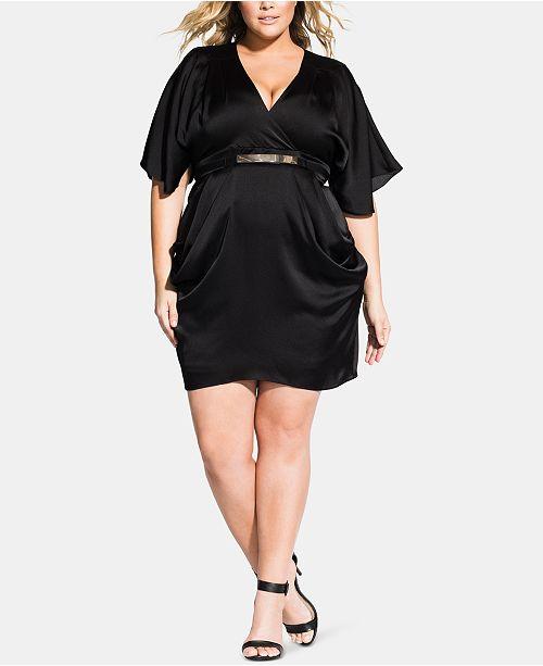 City Chic Plus Size Tangled Faux-Wrap Dress