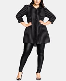 City Chic Plus Size Fine-Stripe Tunic