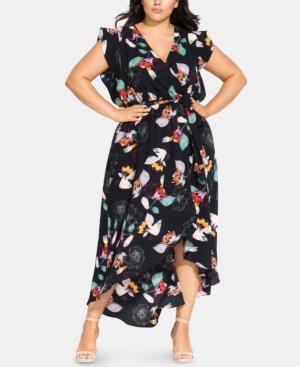 City Chic Dresses PLUS SIZE FLORAL SKETCH MAXI DRESS
