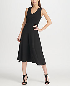 DKNY V-Neck Midi Dress with Covered Buttons, Created for Macy's