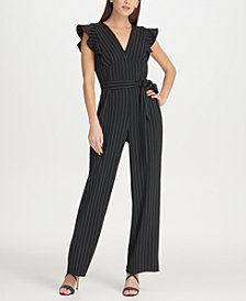 DKNY Pinstripe Jumpsuit with Ruffle Detail, Created for Macy's