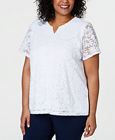 Alfred Dunner Classic Plus Size Floral Lace Top