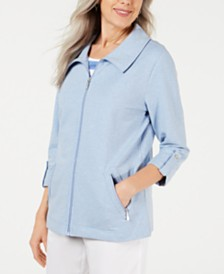 Karen Scott Zip-Front Casual Knit Jacket, Created for Macy's