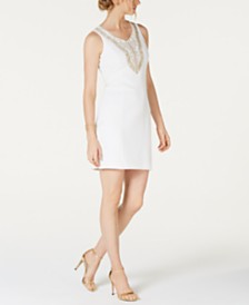 Pappagallo Embroidered Sleeveless Sheath Dress