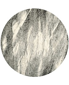 Retro Gray and Ivory 8' x 8' Round Area Rug
