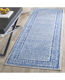 "Adirondack Silver and Blue 2'6"" x 10' Runner Area Rug"
