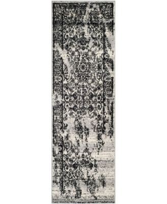 """Adirondack Silver and Black 2'6"""" x 16' Runner Area Rug"""