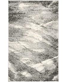 Retro Gray and Ivory 11' x 15' Area Rug