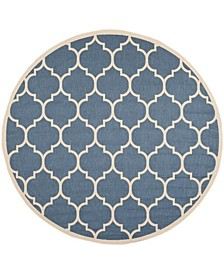 Courtyard Blue and Beige 4' x 4' Round Area Rug