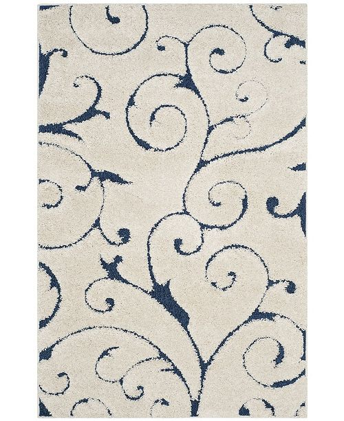 Safavieh Shag Cream and Blue 6' x 9' Area Rug