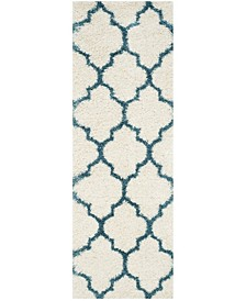 """Shag Kids Ivory and Blue 2'3"""" x 9' Runner Area Rug"""