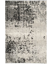 Retro Light Gray and Gray 10' x 14' Area Rug