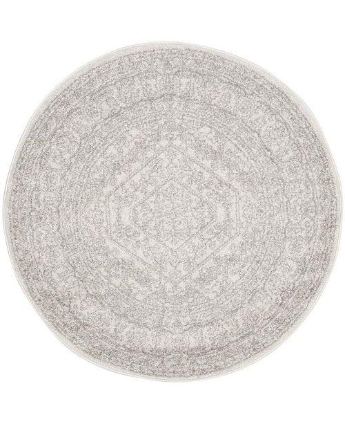 "Safavieh Adirondack Ivory and Silver 6'7"" x 6'7"" Round Area Rug"