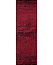 """Adirondack Red and Black 2'6"""" x 16' Runner Area Rug"""