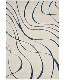 Safavieh Shag Cream and Blue 4' x 6' Area Rug