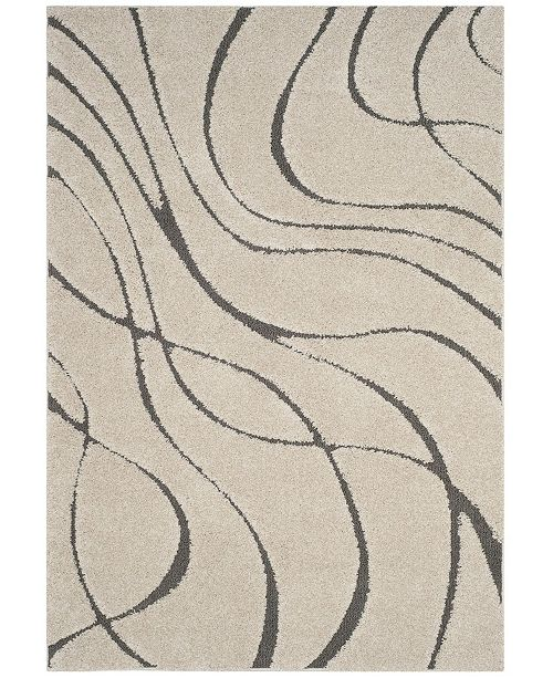 "Safavieh Shag Cream and Gray 6'7"" x 6'7"" Square Area Rug"
