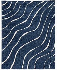Shag Dark Blue and Cream 8' x 10' Area Rug