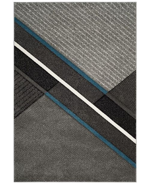 "Safavieh Hollywood Gray and Teal 6'7"" x 6'7"" Square Area Rug"