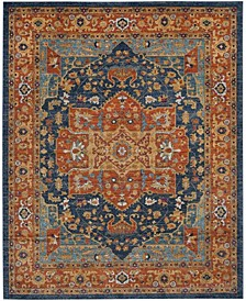 Evoke Blue and Orange 12' x 18' Area Rug