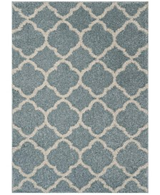 New York Shag Blue and Ivory 4' X 6' Area Rug