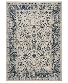 "Charleston Ivory and Blue 6'7"" x 6'7"" Square Area Rug"