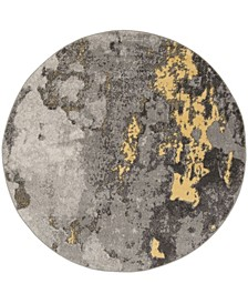 Adirondack Gray and Yellow 8' x 8' Round Area Rug
