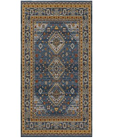Classic Vintage Blue and Gold 6' x 9' Area Rug