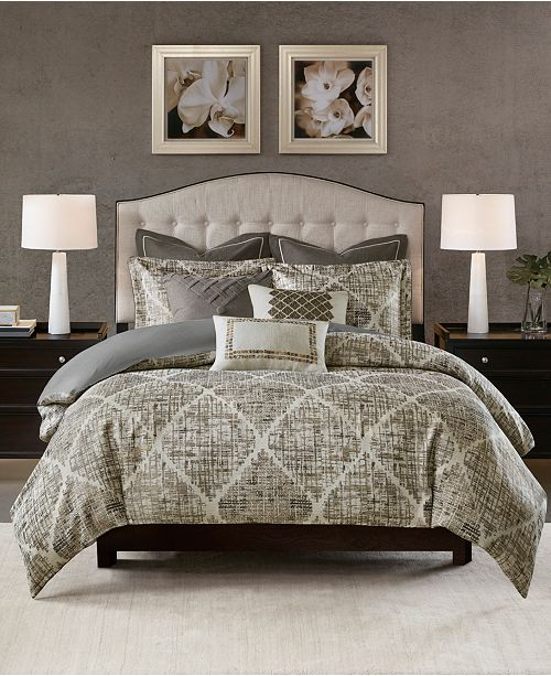 JLA Home Madison Park Signature Plateau Queen 8 Piece Jacquard Comforter Set
