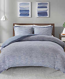 Urban Habitat Space Dyed Full/Queen 3 Piece Melange Cotton Jersey Knit Duvet Cover Set