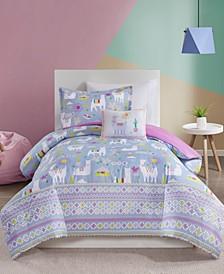 Andes Twin 3 Piece Printed Llama Comforter Set