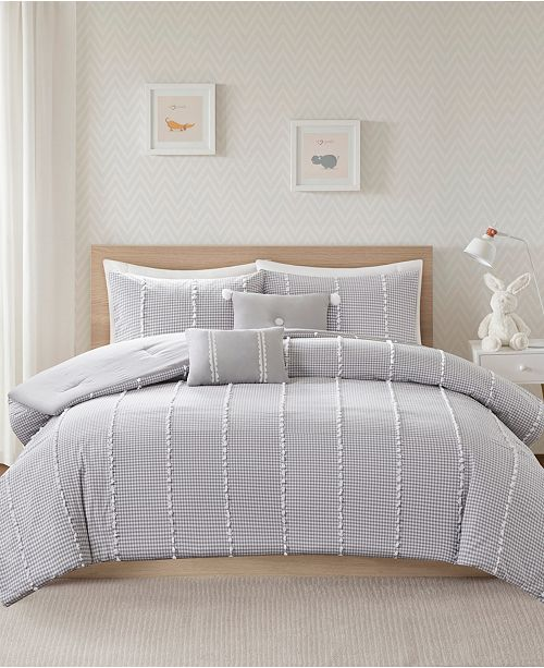 JLA Home Ayden Twin/Twin XL 4 Piece Cotton Gingham Comforter Set with Jacquard Pompoms