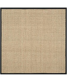 Natural Fiber Natural and Black 10' x 10' Sisal Weave Square Area Rug