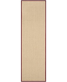 "Natural Fiber Maize and Burgundy 2'6"" x 12' Sisal Weave Runner Rug"